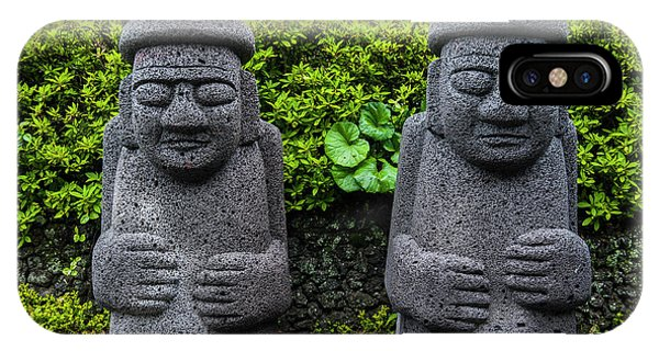 Basalt iPhone Case - Basalt Statues In Seogwipo by Michael Runkel