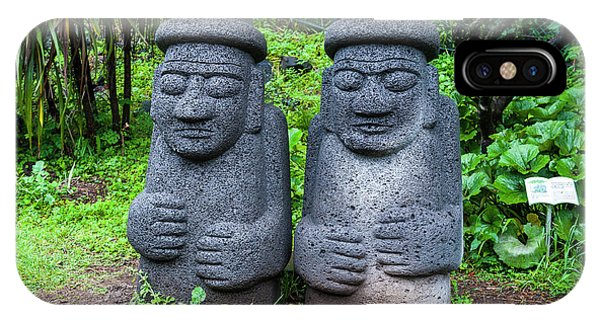 Basalt iPhone Case - Basalt Statues In Seogwipo, Unesco by Michael Runkel