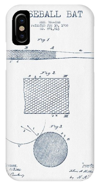 Baseball Bat Patent Drawing From 1904 - Blue Ink IPhone Case