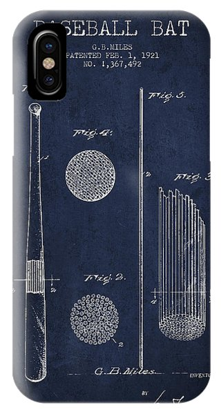 Baseball Bats iPhone Case - Baseball Bat Patent Drawing From 1921 by Aged Pixel