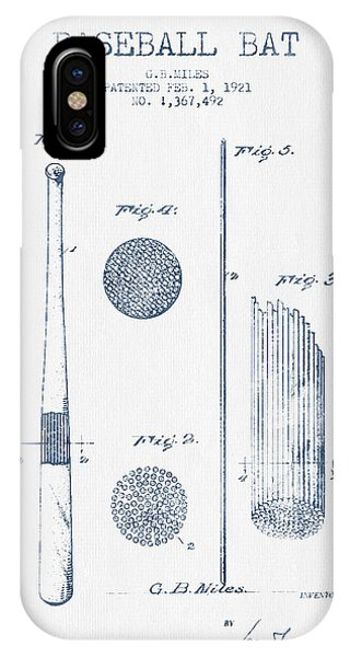 Baseball Bat Patent Drawing From 1921 - Blue Ink IPhone Case