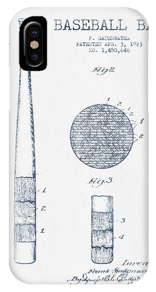 Baseball Bat Patent Drawing From 1923 - Blue Ink IPhone Case