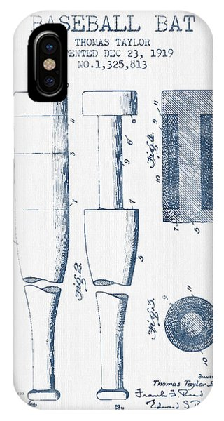 Baseball Bat Patent From 1919 - Blue Ink IPhone Case