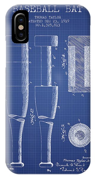 Baseball Bat Patent From 1919 - Blueprint IPhone Case
