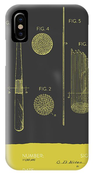 Baseball Bat Patent From 1921 - Gray Yellow IPhone Case