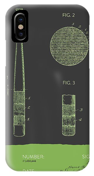 Baseball Bat Patent From 1923 - Gray Green IPhone Case