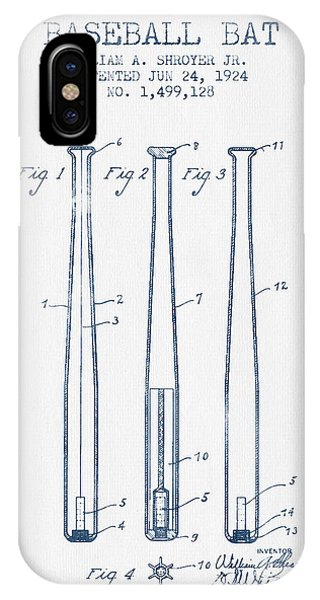 Baseball Bat Patent From 1924 - Blue Ink IPhone Case