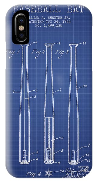 Softball iPhone Case - Baseball Bat Patent From 1924 - Blueprint by Aged Pixel