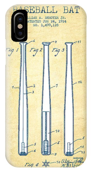 Baseball Bat Patent From 1924 - Vintage Paper IPhone Case