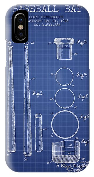 Baseball Bats iPhone Case - Baseball Bat Patent From 1926 - Blueprint by Aged Pixel
