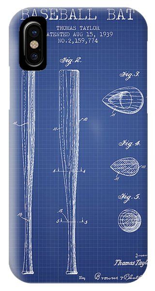Baseball Bat Patent From 1939 - Blueprint IPhone Case