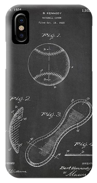 Baseball Bats iPhone Case - Baseball Cover Patent Drawing From 1923 by Aged Pixel