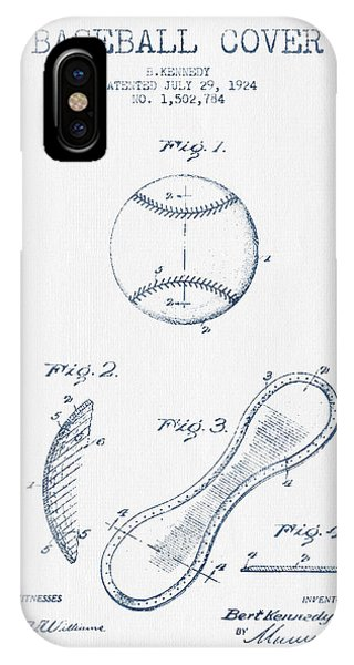 Baseball Cover Patent Drawing From 1924 - Blue Ink IPhone Case
