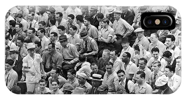 Yankee Stadium iPhone Case - Baseball Fans In The Bleachers At Yankee Stadium. by Underwood Archives