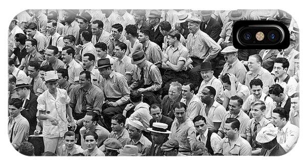 Baseball Fans In The Bleachers At Yankee Stadium. IPhone Case
