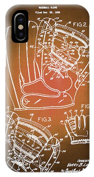 Baseball Glove Patent Blueprint Drawing Sepia IPhone Case