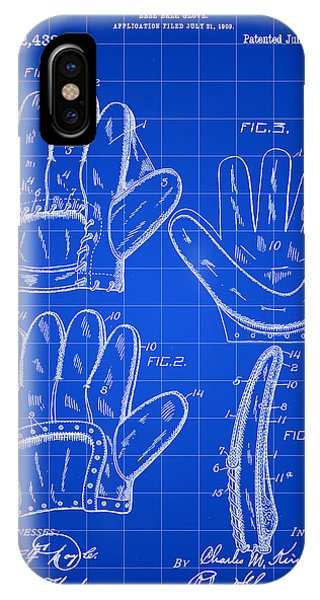 Baseball Glove Patent 1909 - Blue IPhone Case