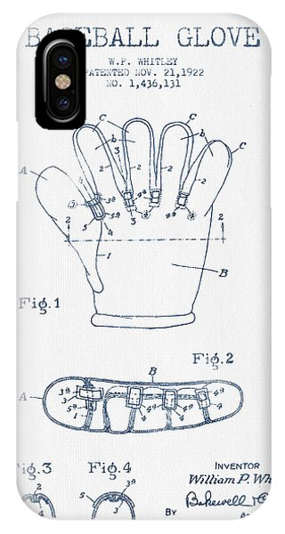Baseball Glove Patent Drawing From 1922 - Blue Ink IPhone Case