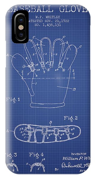 Baseball Bats iPhone Case - Baseball Glove Patent From 1922 - Blueprint by Aged Pixel