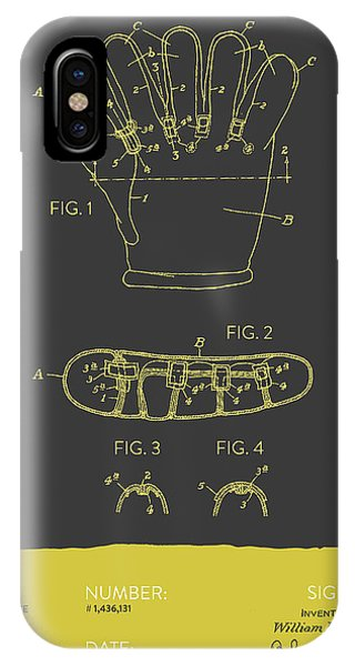 Baseball Gloves iPhone Case - Baseball Glove Patent From 1922 - Gray Yellow by Aged Pixel