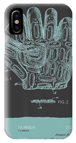 Baseball Gloves iPhone Case - Baseball Glove Patent From 1924 - Gray Blue by Aged Pixel