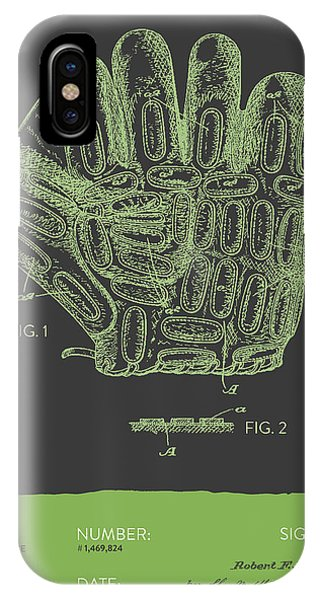 Baseball Gloves iPhone Case - Baseball Glove Patent From 1924 - Gray Green by Aged Pixel