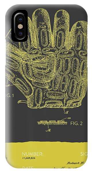 Baseball Gloves iPhone Case - Baseball Glove Patent From 1924 - Gray Yellow by Aged Pixel
