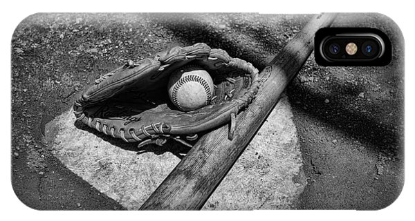 Baseball Home Plate In Black And White IPhone Case