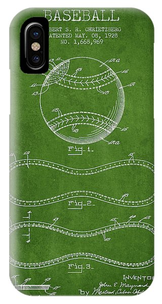 Baseball Bats iPhone Case - Baseball Patent Drawing From 1928 by Aged Pixel
