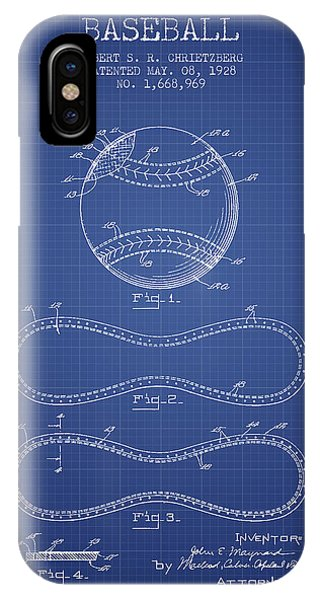 Baseball Bats iPhone Case - Baseball Patent From 1928 - Blueprint by Aged Pixel