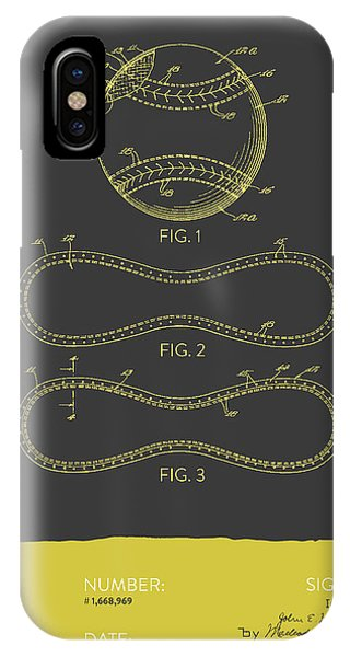 Baseball Patent From 1928 - Gray Yellow IPhone Case