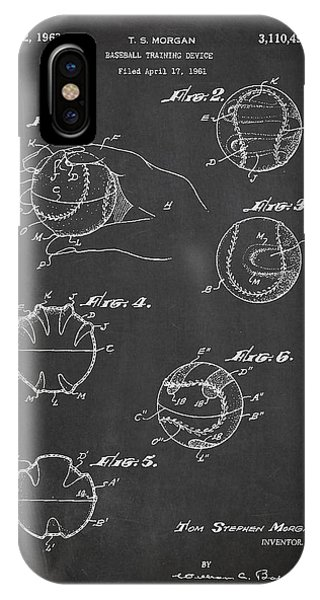 Baseball Bats iPhone Case - Baseball Training Device Patent Drawing From 1961 by Aged Pixel