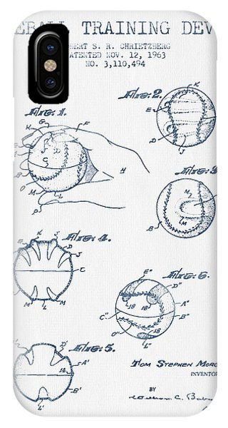 Baseball Training Device Patent Drawing From 1963 - Blue Ink IPhone Case
