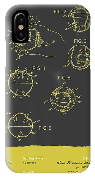 Baseball Training Device Patent From 1963 - Gray Yellow IPhone Case
