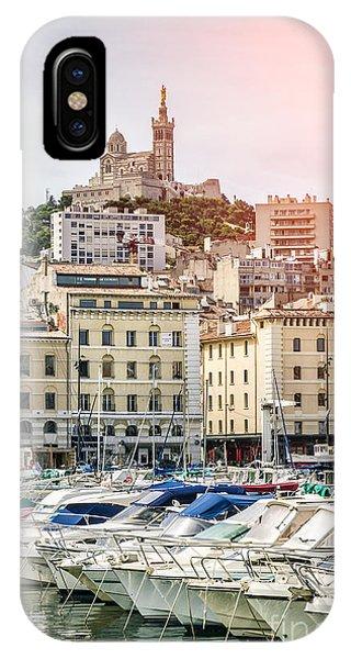Basilique Notre-dame De La Garde From The Vieux Port Of Marseille Phone Case by Pier Giorgio Mariani