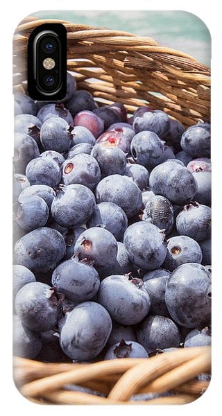 Blue Berry iPhone Case - Basket Of Fresh Picked Blueberries by Edward Fielding