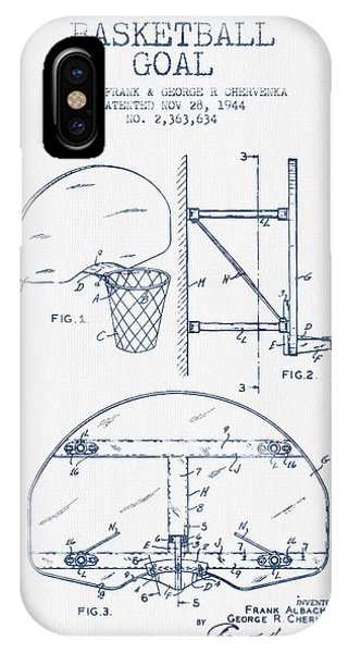 Basketball iPhone Case - Basketball Goal Patent From 1944 - Blue Ink by Aged Pixel