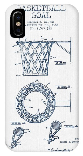 Basketball iPhone Case - Basketball Goal Patent From 1951 - Blue Ink by Aged Pixel