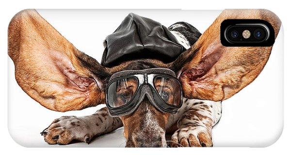 Basset Hound Dog Aviator Phone Case by Susan Schmitz