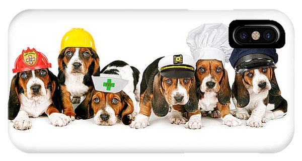 Bassets In Work Hats  IPhone Case
