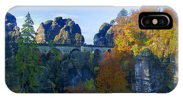 Bastei Bridge In The Elbe Sandstone Mountains IPhone Case