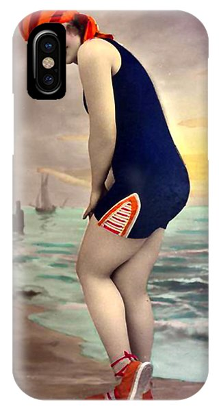 Bathing Beauty In Orange And Navy Bathing Suit IPhone Case