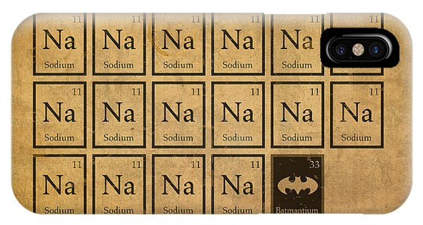 Batmantium Periodic Table Element Chart Nerd Chemistry Student Superhero Humor IPhone Case