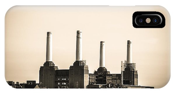Battersea Power Station With Train Tracks IPhone Case