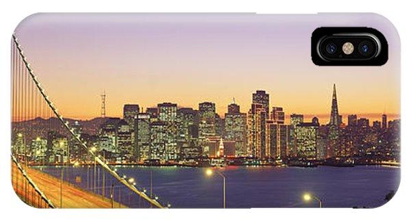 Street Light iPhone Case - Bay Bridge At Night, San Francisco by Panoramic Images
