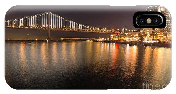 IPhone Case featuring the photograph Bay Bridge Lights And City by Kate Brown