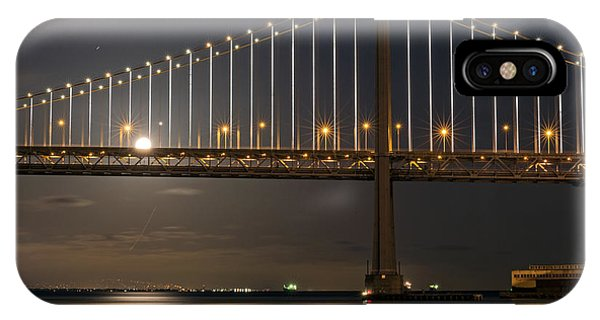 IPhone Case featuring the photograph Bay Bridge Moon Rising by Kate Brown