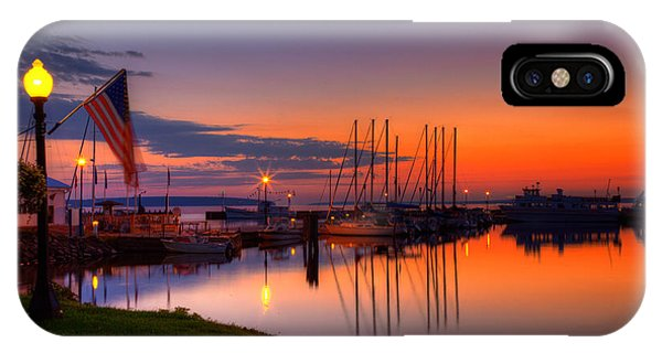 Lake Superior iPhone Case - Bayfield Wisconsin Fire In The Sky Over The Harbor by Wayne Moran