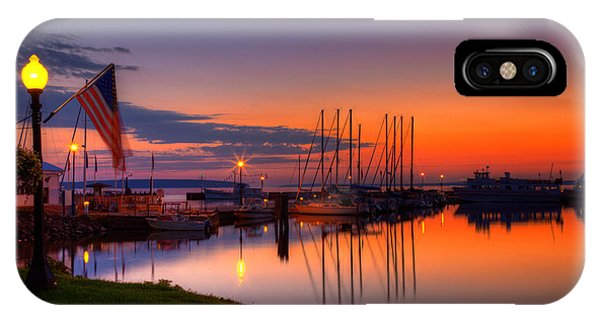 Bayfield Wisconsin Fire In The Sky Over The Harbor IPhone Case