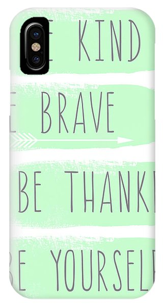 Be Yourself- Mint And White Inspirational Art IPhone Case